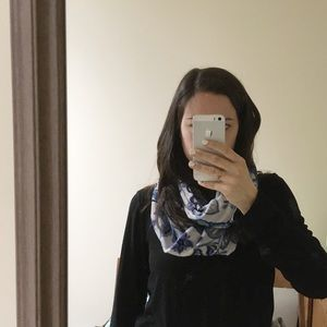 3/$20 floral purple, blue and white infinity scarf